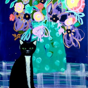 (CreativeWork) Black Cat & Blue by Sandra Oost. arcylic-painting. Shop online at Bluethumb.
