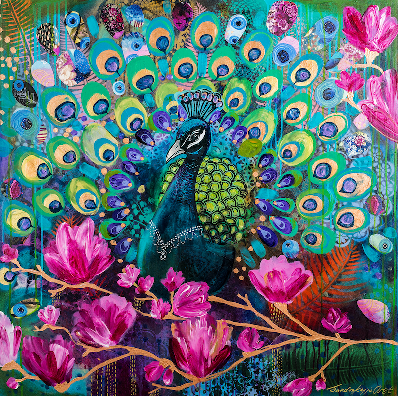 (CreativeWork) Peacock by Sandra Oost. Mixed Media. Shop online at Bluethumb.