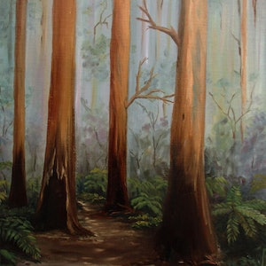 (CreativeWork) Lyrebird track, Sherbrooke forest by Debra Dickson. oil-painting. Shop online at Bluethumb.
