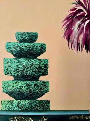 (CreativeWork) Lake palm and topiary by Geoff Coleman. Mixed Media. Shop online at Bluethumb.