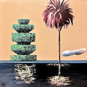 (CreativeWork) Lake palm and topiary by Geoff Coleman. #<Filter:0x0000564b6e4b6b98>. Shop online at Bluethumb.