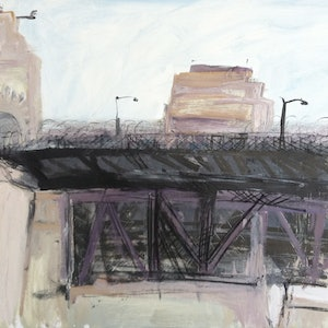 (CreativeWork) The Bridge-Southern entrance-Plein air-Acrylic and charcoal on   paper by David K Wiggs. acrylic-painting. Shop online at Bluethumb.