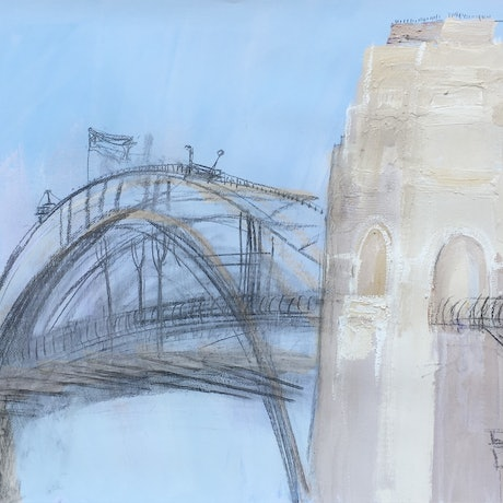 (CreativeWork) The Bridge-Plein air-Gouache and charcoal on paper by David K Wiggs. Drawings. Shop online at Bluethumb.