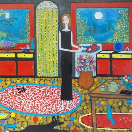 """(CreativeWork) """"Night owls and late night cuppas"""" by Catherine Walker. Acrylic Paint. Shop online at Bluethumb."""