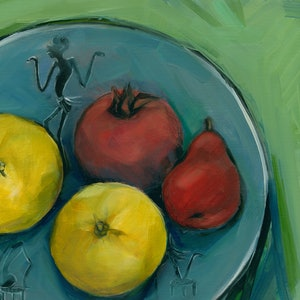 (CreativeWork) Fruits on the plate by Liza Merkalova. oil-painting. Shop online at Bluethumb.