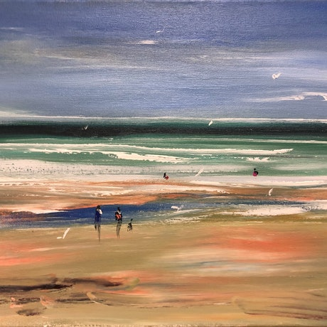 (CreativeWork) Beach walkers - beachscape by Tina Barr. Acrylic Paint. Shop online at Bluethumb.