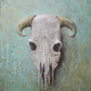(CreativeWork) Skull by David Kaneen. mixed-media. Shop online at Bluethumb.
