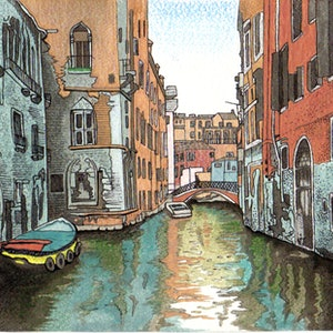 (CreativeWork) View from the Window Venice by Vikki Jackson. mixed-media. Shop online at Bluethumb.