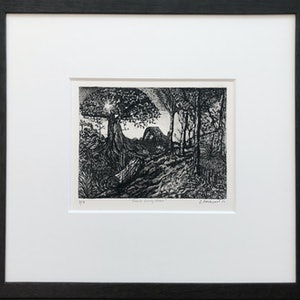 (CreativeWork) Sam's Early Morn Etching  Ed. 3 of 8 by Lyndsey Hatchwell. print. Shop online at Bluethumb.