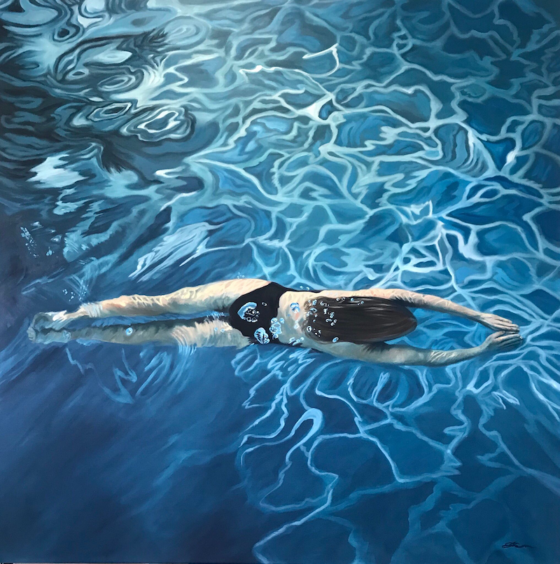 (CreativeWork) The Swimmer II by Amanda Cameron. Oil Paint. Shop online at Bluethumb.
