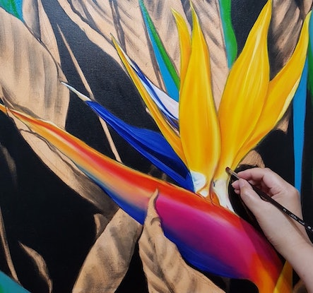 (CreativeWork) Dazzling Bird of Paradise by Natasha Junmanee. Oil Paint. Shop online at Bluethumb.