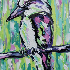 (CreativeWork) Rainbow Kookaburra by Lisa Fahey. arcylic-painting. Shop online at Bluethumb.