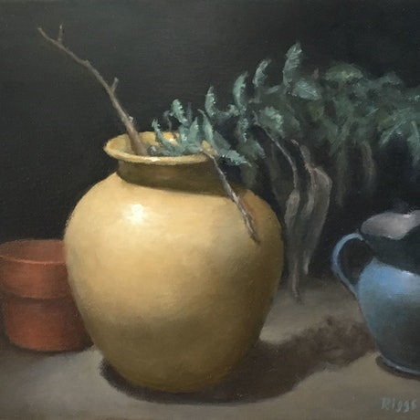 (CreativeWork) Yellow vase with wattle branch. by Robert Riggs. Oil Paint. Shop online at Bluethumb.