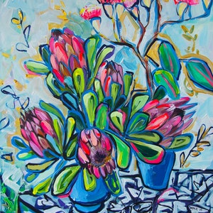 (CreativeWork) Proteas and Gum Blossom by Katerina Apale. acrylic-painting. Shop online at Bluethumb.