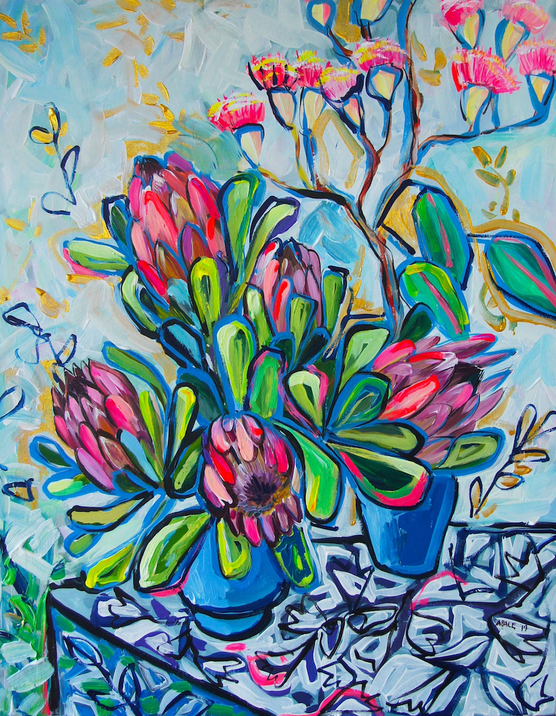 (CreativeWork) Proteas and Gum Blossom by Katerina Apale. Acrylic Paint. Shop online at Bluethumb.