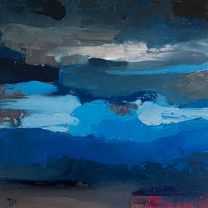 (CreativeWork) Layers of sky by Damien Venditti. oil-painting. Shop online at Bluethumb.