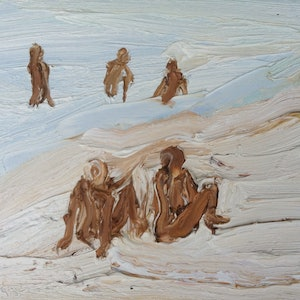 (CreativeWork) Watching the guys-Plein air-Oil on canvas by David K Wiggs. oil-painting. Shop online at Bluethumb.