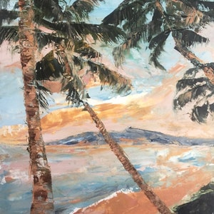 (CreativeWork) Paradise Palms by Tiffany Blaise. oil-painting. Shop online at Bluethumb.
