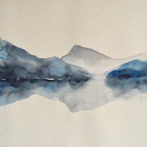 (CreativeWork) Mountain Meditation by Tiffany Blaise. watercolour. Shop online at Bluethumb.
