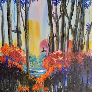 (CreativeWork) Blue Lake  by Vanessa Black. arcylic-painting. Shop online at Bluethumb.