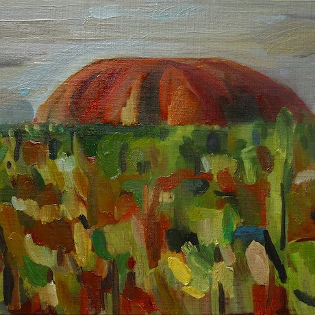 (CreativeWork) Springtime Uluru by Liza Merkalova. Oil Paint. Shop online at Bluethumb.