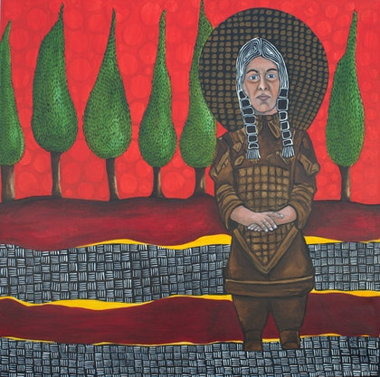 (CreativeWork) Terra Cotta Warrior with Cypress Trees by Narelle Cridland. oil-painting. Shop online at Bluethumb.