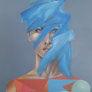 (CreativeWork) Blue Brush on Gray by Jonny Southgate. oil-painting. Shop online at Bluethumb.