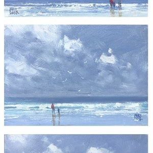 (CreativeWork) Three Little Seascapes - set of three paintings by Mike Barr. oil-painting. Shop online at Bluethumb.
