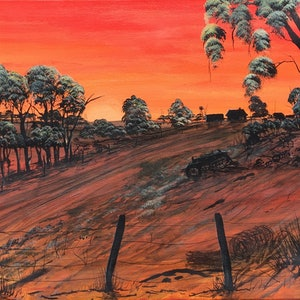 (CreativeWork) STATION AT SUNSET by Joseph Williams. acrylic-painting. Shop online at Bluethumb.