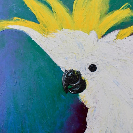 (CreativeWork) Cockatoo's Crown by Ryan Taylor Kilbourn. Acrylic Paint. Shop online at Bluethumb.