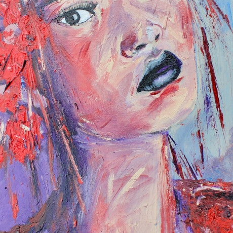(CreativeWork) Girl with the Floral Hat by Ryan Taylor Kilbourn. Acrylic Paint. Shop online at Bluethumb.