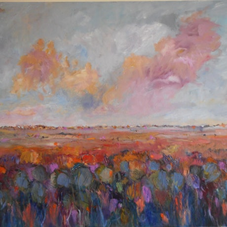"""(CreativeWork) """"Before the Rain"""" by ELAINE ROMALIS. Oil Paint. Shop online at Bluethumb."""