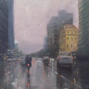 (CreativeWork) Motorbike on Flinders Street - cityscape  by Mike Barr. oil-painting. Shop online at Bluethumb.