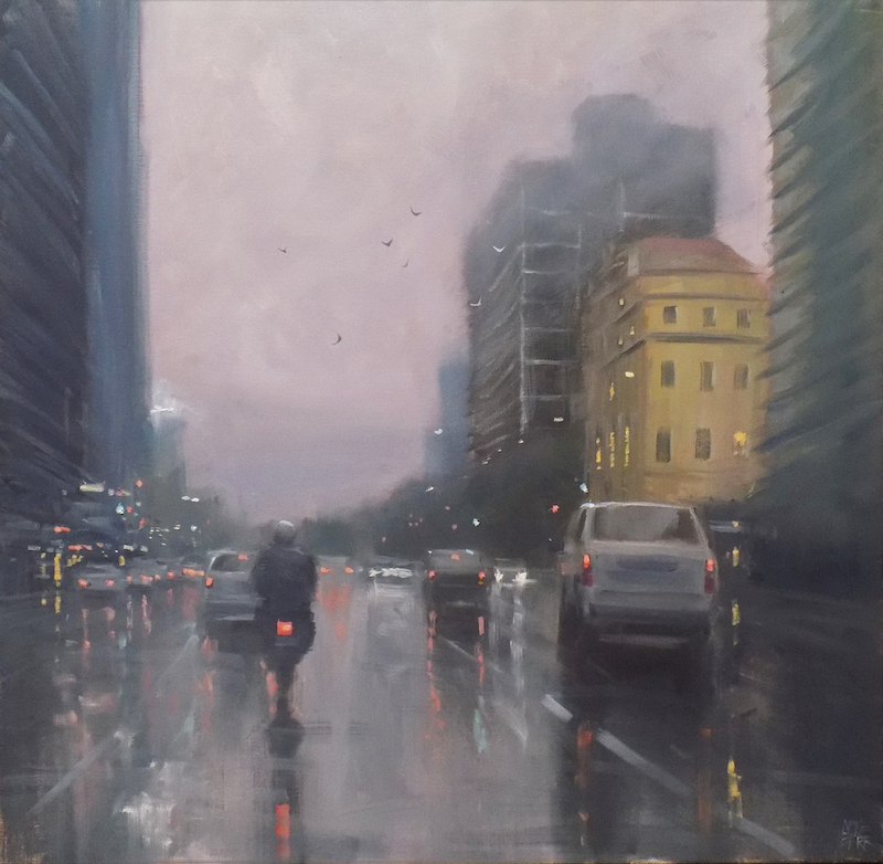 (CreativeWork) Motorbike on Flinders Street - cityscape  by Mike Barr. Oil Paint. Shop online at Bluethumb.