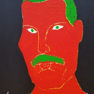 (CreativeWork) Freddie Mercury by Yiwei Shi. acrylic-painting. Shop online at Bluethumb.