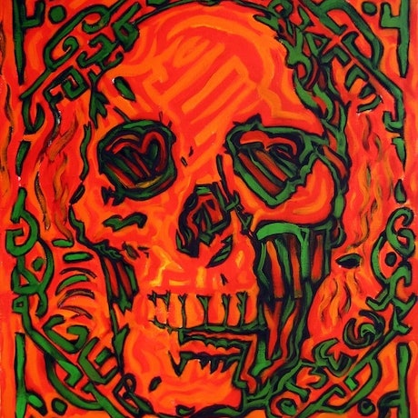 (CreativeWork) Skull' by Sidney Sprague. Acrylic Paint. Shop online at Bluethumb.