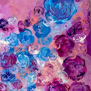 (CreativeWork) Floral Sky by Rebecca Warr. arcylic-painting. Shop online at Bluethumb.