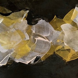 (CreativeWork) Golden Rays by Rebecca Warr. arcylic-painting. Shop online at Bluethumb.