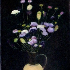 (CreativeWork) wild flowers by Raymond Wittenberg. oil-painting. Shop online at Bluethumb.