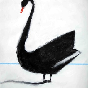 (CreativeWork) Black Swan by John Graham. mixed-media. Shop online at Bluethumb.