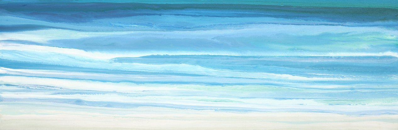 (CreativeWork) Pensea - Long, narrow, seascape painting by Stephanie Laine Pickering. #<Filter:0x00007ff7cd812910>. Shop online at Bluethumb.