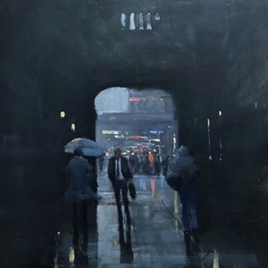 (CreativeWork) Town Hall Winter  - rainy cityscape by Mike Barr. oil-painting. Shop online at Bluethumb.