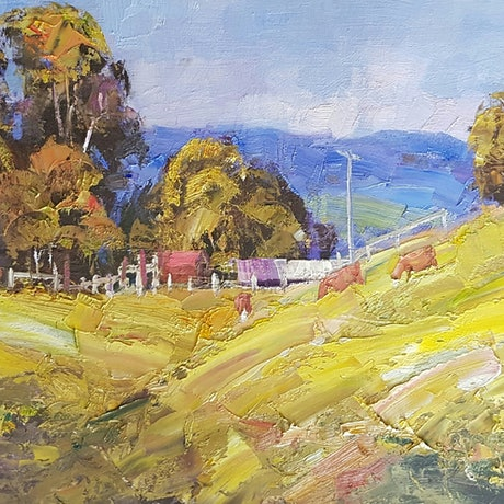 (CreativeWork) Farmlife. Maleny.Qld. by Barry Back. Oil Paint. Shop online at Bluethumb.