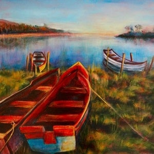 (CreativeWork) When All is Still by Sue Hill. arcylic-painting. Shop online at Bluethumb.
