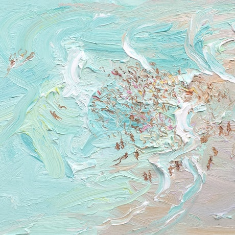 (CreativeWork) Crowd and lifesavers out wide-freshwater-plein air by David K Wiggs. Oil Paint. Shop online at Bluethumb.