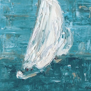 (CreativeWork) White Sails 5 - Sailing Boats by Naomi Veitch. oil-painting. Shop online at Bluethumb.