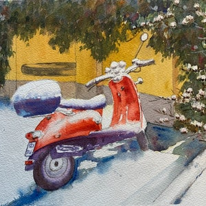 (CreativeWork) Red bike with fresh snow by Shelly Du. watercolour. Shop online at Bluethumb.