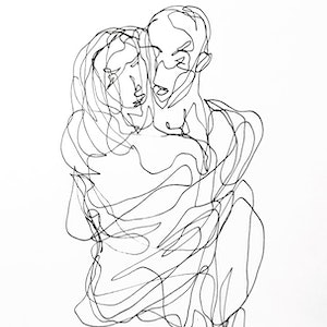 (CreativeWork) Don't Let Go - Embrace I by Irma Calabrese. drawing. Shop online at Bluethumb.