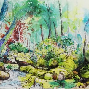 (CreativeWork) Rainforest with a Splash of Lime by Cathy Gilday. drawing. Shop online at Bluethumb.
