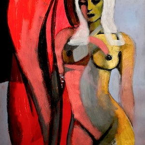 (CreativeWork) Figurative Abstract - Nude with Red Curtain by Lee Wilde. #<Filter:0x00007fd0362c65b0>. Shop online at Bluethumb.